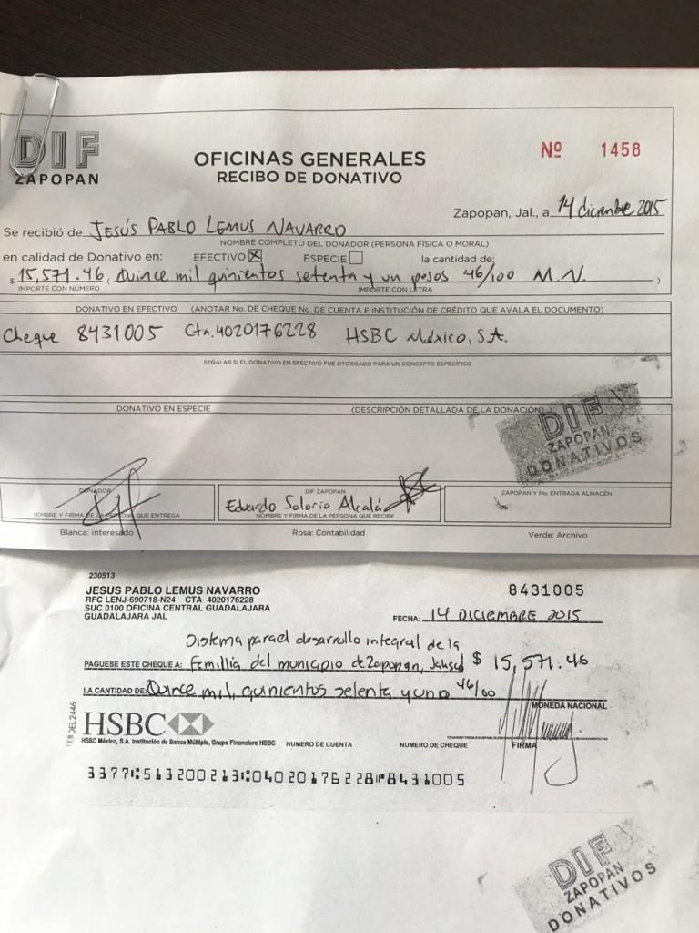 Recibo donación DIF Zapopan Pablo Lemus