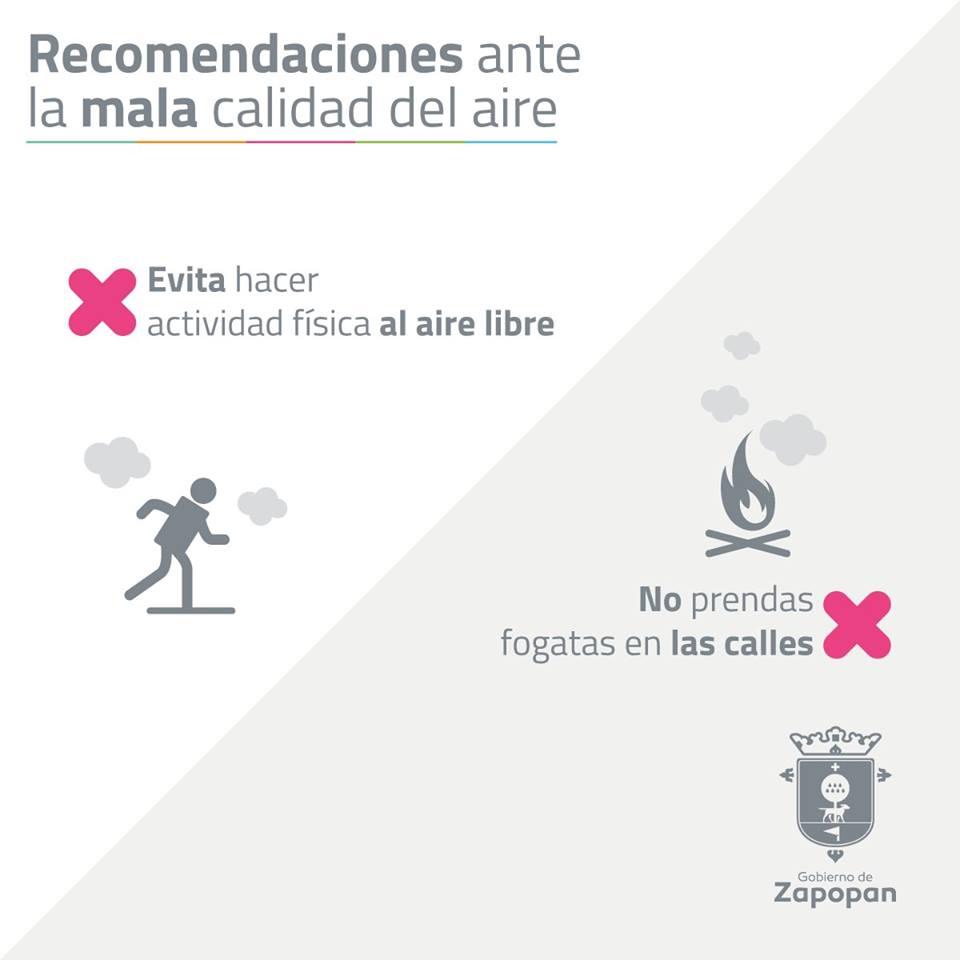 Zapopan emite recomendaciones ante mala calidad del aire