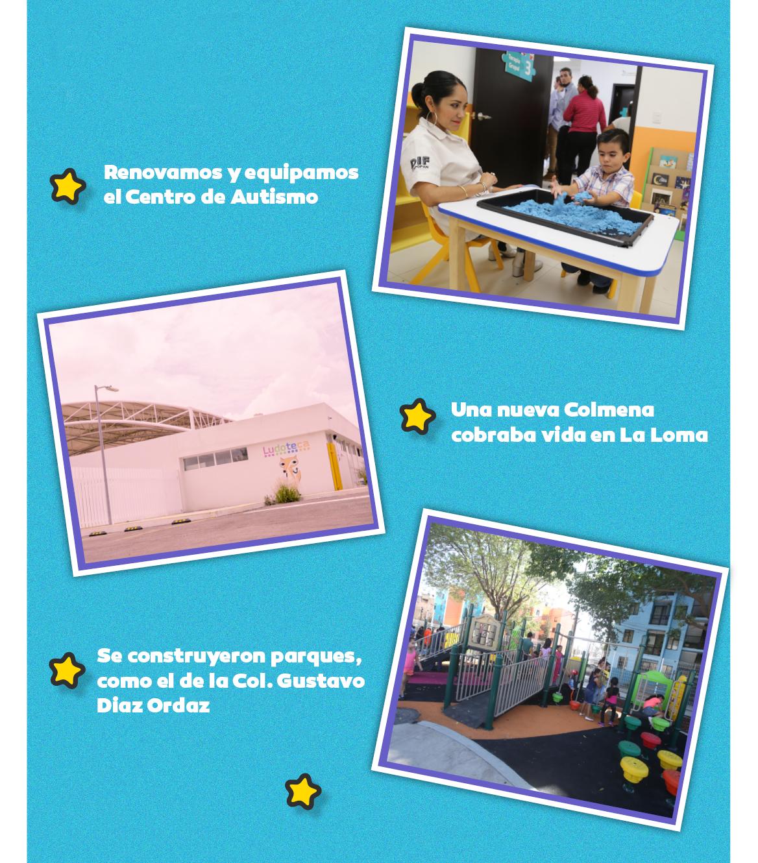 Renovamos y equipamos al Centro de Autismo. Una nueva Colmena cobraba vida en La Loma. Se construyeron parques, como el de la colonia Gustavo Diaz Ordaz.